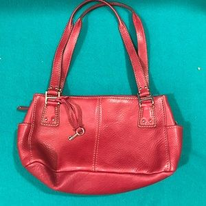 Fossil Red Leather Bag with 3 Full Pockets